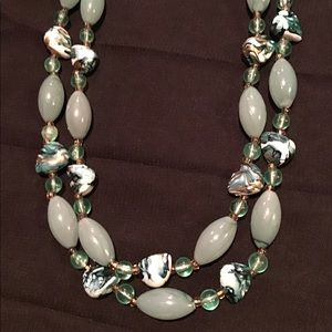 Vintage Jewelry - Vintage Jade Green Lucite Lampwork Glass Necklace